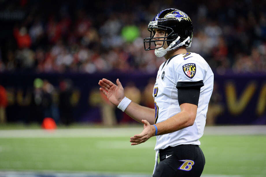 Joe Flacco of the Baltimore Ravens celebrates after he threw a 1-yard touchdown pass in the second quarter. Photo: Harry How / 2013 Getty Images