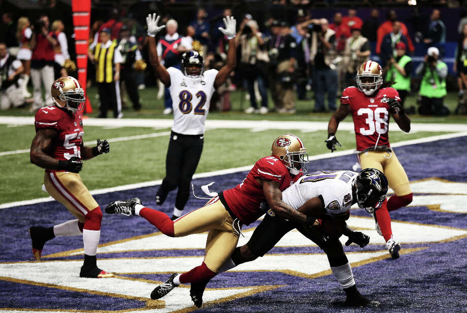 Anquan Boldin of the Baltimore Ravens makes a 13-yard touchdown reception in the first quarter from Joe Flacco. Photo: Win McNamee / 2013 Getty Images