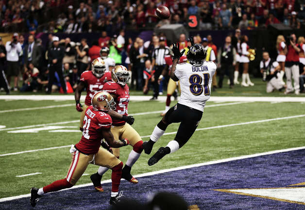 Anquan Boldin of the Baltimore Ravens makes a 13-yard touchdown reception in the first quarter. Photo: Win McNamee / 2013 Getty Images