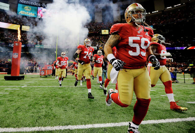 49ers players take the field for the Super Bowl. Photo: Matt Slocum