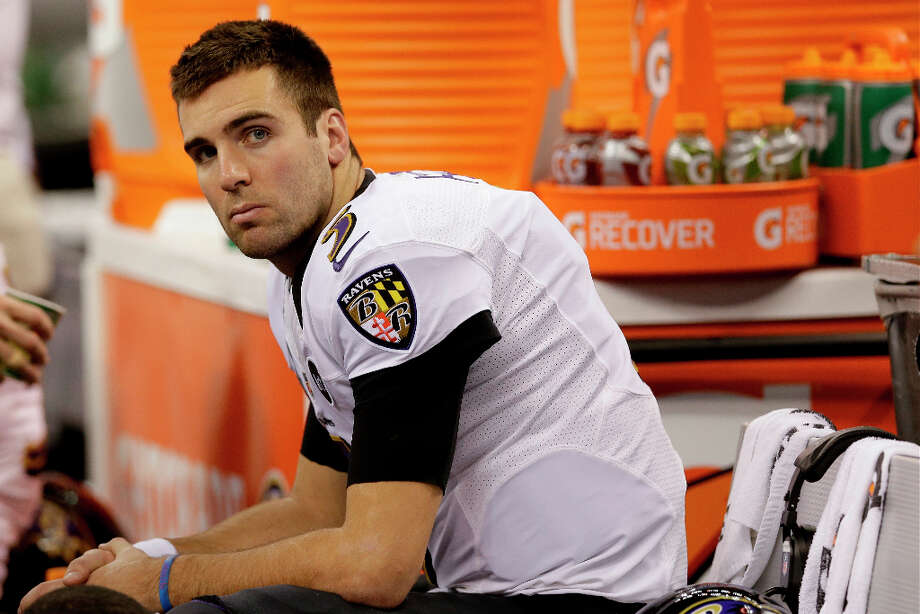 Ravens quarterback Joe Flacco sits on the bench before the start of the Super Bowl. Photo: Patrick Semansky