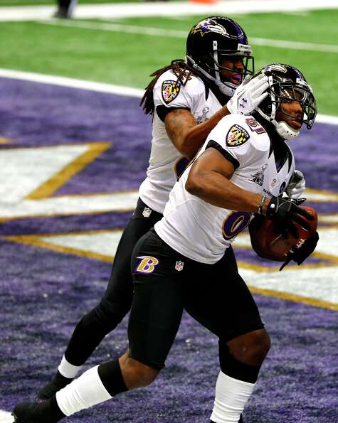 wide receiver Anquan Boldin (81) celebrates after scoring the first touchdown of Superbowl XLVII bet