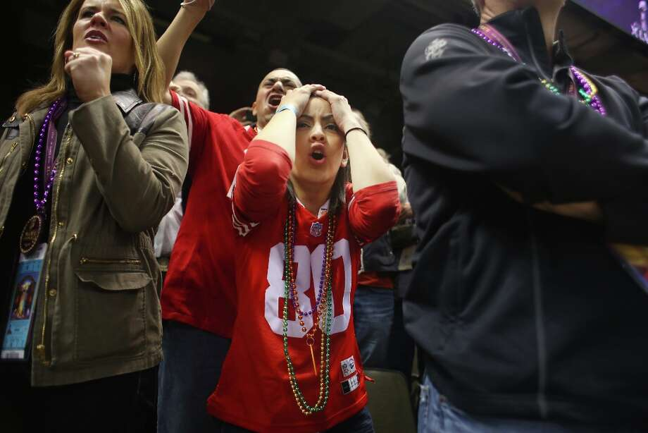 Yoland Mejia, of San Jose, Calif. shows signs of dismay after the Ravans control the game early on at Superbowl XLVII between the San Francisco 49ers and the Baltimore Ravens at the Mercedes-Benz Superdome on Sunday February 3, 2013, New Orleans, La. Photo: Mike Kepka, The Chronicle / ONLINE_YES