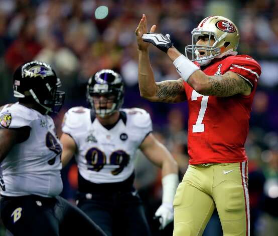 San Francisco 49ers quarterback Colin Kaepernick (7) calls a timeout during the first half of the NFL Super Bowl XLVII football game against the Baltimore Ravens, Sunday, Feb. 3, 2013, in New Orleans. (AP Photo/Evan Vucci) Photo: Evan Vucci, Associated Press / AP