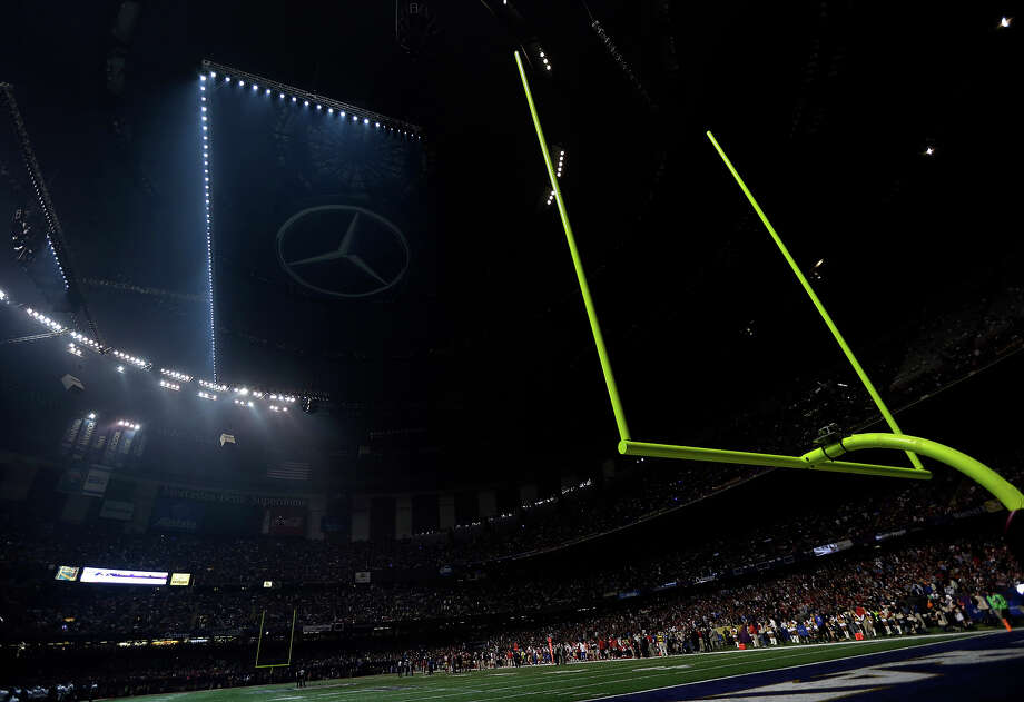 The Superdome is seen after the lights went out during the second half of NFL Super Bowl XLVII football game Sunday, Feb. 3, 2013, in New Orleans. (AP Photo/Marcio Sanchez) Photo: Marcio Sanchez, ASSOCIATED PRESS / AP2013