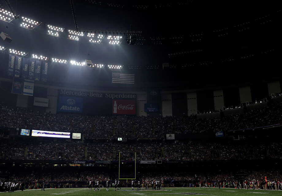 The Superdome is seen after the lights went out during the second half of NFL Super Bowl XLVII football game Beyonce performs during the halftime show of Sunday, Feb. 3, 2013, in New Orleans. (AP Photo/Marcio Sanchez) Photo: Marcio Sanchez, ASSOCIATED PRESS / AP2013