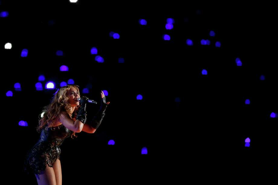 Beyonce performs during the halftime show of the NFL Super Bowl XLVII football game between the San Francisco 49ers and the Baltimore Ravens Sunday, Feb. 3, 2013, in New Orleans. Photo: AP