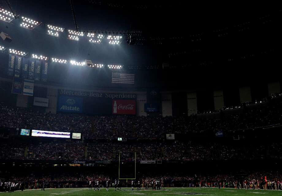 The Superdome is seen after the lights went out during the second half of NFL Super Bowl XLVII football game Beyonce performs during the halftime show of Sunday, Feb. 3, 2013, in New Orleans. (AP Photo/Marcio Sanchez) Photo: Marcio Sanchez, Associated Press / AP