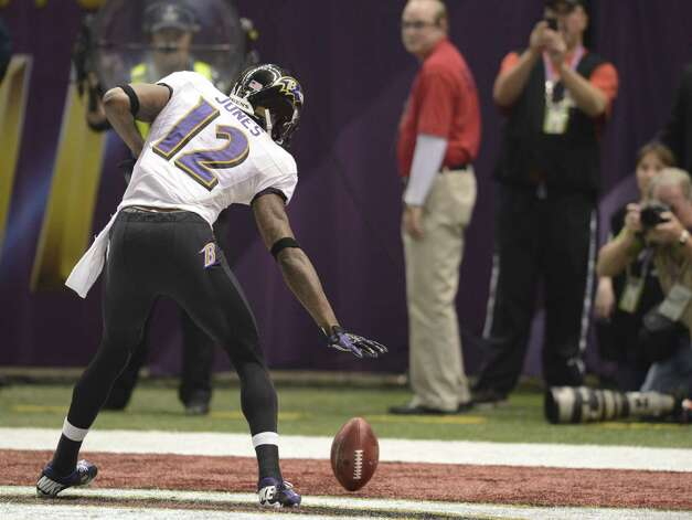 Jacoby Jones of the Baltimore Ravens celebrates a touchdown in the third quarter against the San Francisco 49ers during Super Bowl XLVII at the Mercedes-Benz Superdome on February 3, 2013 in New Orleans, Louisiana.  TIMOTHY A. CLARY/AFP/Getty Images Photo: TIMOTHY A. CLARY, Getty Images / AFP