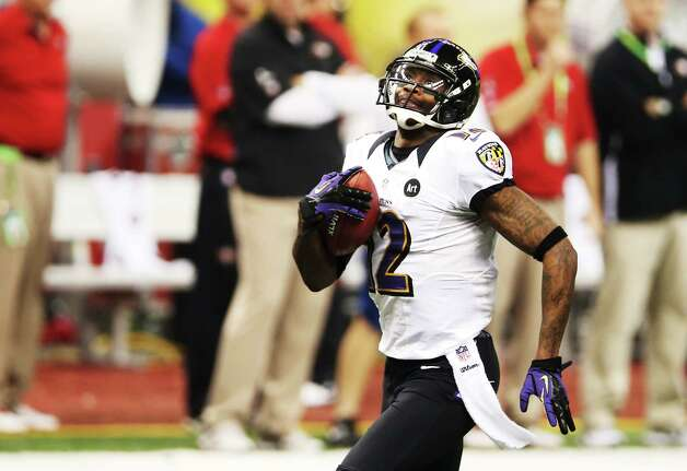 Jacoby Jones #12 of the Baltimore Ravens returns a kick-off 109 yards for a touchdown to open in the second half against the San Francisco 49ers during Super Bowl XLVII at the Mercedes-Benz Superdome on February 3, 2013 in New Orleans, Louisiana.  Ronald Martinez/Getty Images Photo: Ronald Martinez, Getty Images / 2013 Getty Images