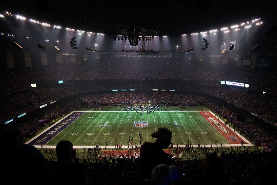 Half of the stadium goes dark as the lights go out on the San Francisco 49ers and Baltimore Ravens d