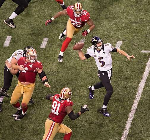 Baltimore Ravens quarterback Joe Flacco (5) avoids the San Francisco 49ers rush as he throws a deep pass to wide receiver Jacoby Jones during the second quarter Super Bowl XLVII at the Mercedes-Benz Superdome on Sunday, Feb. 3, 2013, in New Orleans.  Jones fell to the turf untouched on the catch, and slipped past two defenders for a 56-yard touchdown. Photo: Smiley N. Pool, Chronicle