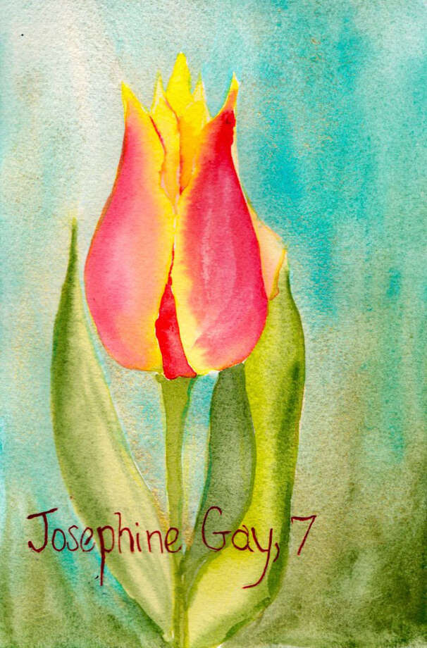 Painting for Sandy Hook victim Josephine Gay, age 7, by Pamela Hollinde, a substitute art teacher at Greenville Elementary.  Hollinde created 26 watercolor flower paintings as a way to memorialize the victims of Sandy Hook in Newtown, Conn. She sent the paints down to Newtown this this week. (Pamela Hollinde)