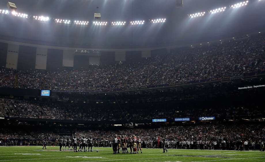 NEW ORLEANS, LA - FEBRUARY 03:  A general view of the Mercedes-Benz Superdome after a sudden power outage that lasted 34 minutes in the second half during Super Bowl XLVII between the Baltimore Ravens and the San Francisco 49ers at the Mercedes-Benz Superdome on February 3, 2013 in New Orleans, Louisiana. Photo: Ezra Shaw, Getty Images / 2013 Getty Images