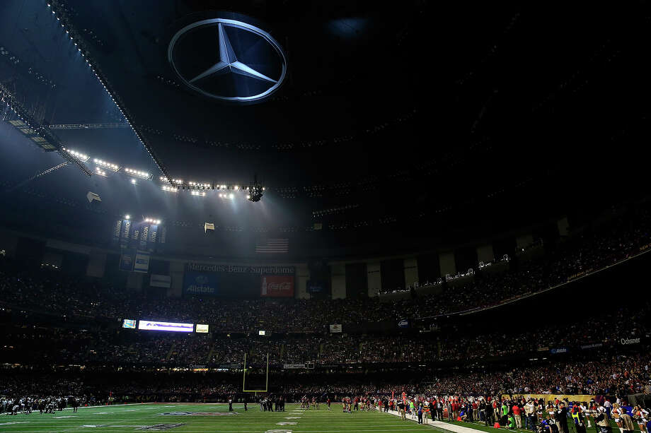 NEW ORLEANS, LA - FEBRUARY 03:  A general view of the Mercedes-Benz Superdome after a sudden power outage that lasted 34 minutes in the second half during Super Bowl XLVII between the Baltimore Ravens and the San Francisco 49ers at the Mercedes-Benz Superdome on February 3, 2013 in New Orleans, Louisiana. Photo: Jamie Squire, Getty Images / 2013 Getty Images
