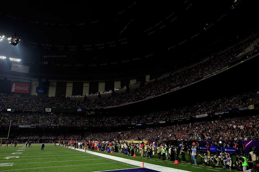 NEW ORLEANS, LA - FEBRUARY 03: A general view of the Superdome after a sudden power outage in the se
