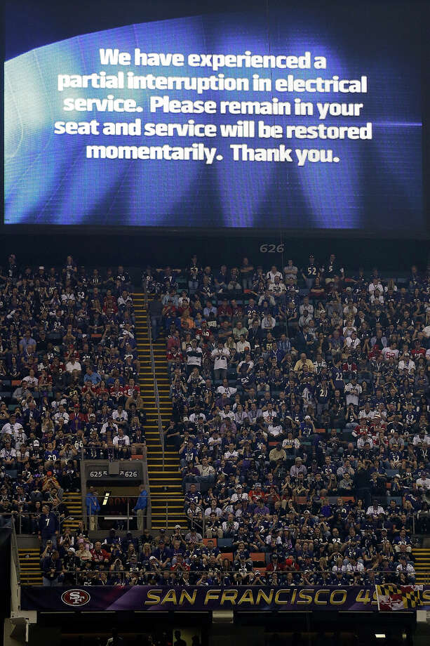 A power failure advisory appears on a screen at the Superdome during the second half of the NFL Super Bowl XLVII football game between the San Francisco 49ers and the Baltimore Ravens, Sunday, Feb. 3, 2013, in New Orleans. The power failure delayed the game by more than 30 minutes. Photo: Marcio Sanchez, AP / AP