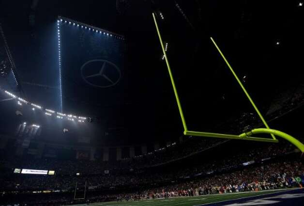The Superdome is seen after the lights went out during the second half of NFL Super Bowl XLVII football game Sunday, Feb. 3, 2013, in New Orleans. (AP Photo/Marcio Sanchez)