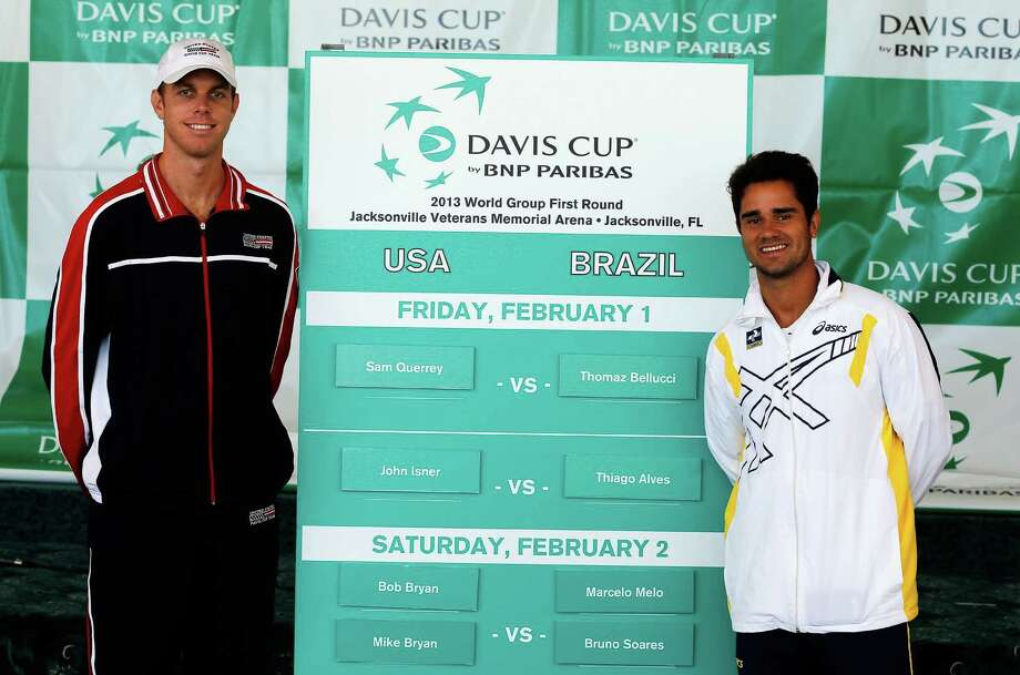 JACKSONVILLE, FL - JANUARY 31:  Member of the U.S. Davis Cup Team Sam Querrey (L) poses with member of the Brazil Davis Cup team Thiago Alves following the Davis Cup Draw ceremony first round between the U.S. and Brazil at the Times-Union Center on January 31, 2013 in Jacksonville, Florida.  (Photo by Sam Greenwood/Getty Images) Photo: Sam Greenwood, Staff / 2013 Getty Images