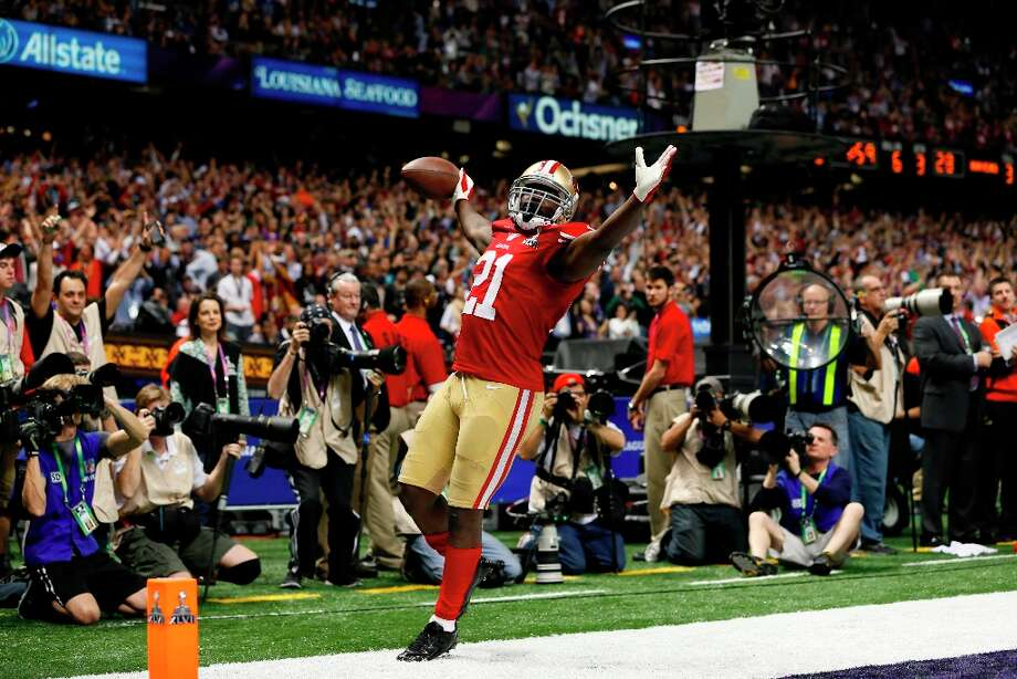 San Francisco 49ers Running back Frank Gore (21) celebrates after running in a touchdown in the third quarter of Superbowl XLVII between the San Francisco 49ers and the Baltimore Ravens at the Mercedes-Benz Superdome on Sunday February 3, 2013 in New Orleans, La. Photo: Michael Macor, The Chronicle / SFC