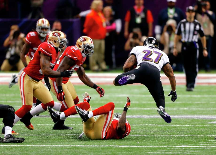 Baltimore Ravens running back Ray Rice (27) during the first half of Superbowl XLVII between the San Francisco 49ers and the Baltimore Ravens at the Mercedes-Benz Superdome on Sunday February 3, 2013 in New Orleans, La. Photo: Carlos Avila Gonzalez, The Chronicle / ONLINE_YES
