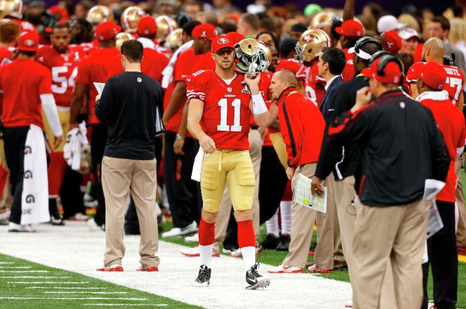 Quarterback Alex Smith (11) on the sidelines during the first half of Superbowl XLVII between the San Francisco 49ers and the Baltimore Ravens at the Mercedes-Benz Superdome on Sunday February 3, 2013 in New Orleans, La. Photo: Carlos Avila Gonzalez, The Chronicle / ONLINE_YES