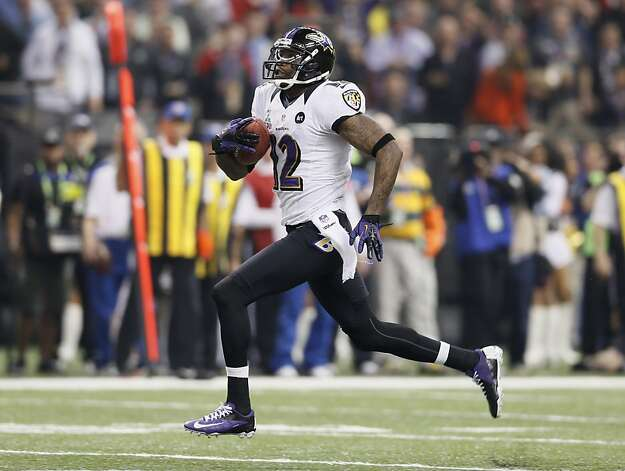 Wide receiver Jacoby Jones (12) runs downfield on a  punt return to score a touchdown on the first play of the second half during Superbowl XLVII between the San Francisco 49ers and the Baltimore Ravens at the Mercedes-Benz Superdome on Sunday February 3, 2013 in New Orleans, La. Photo: Michael Macor, The Chronicle