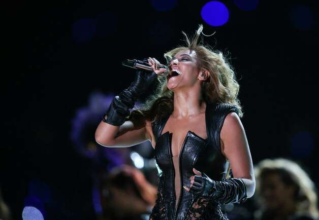 Beyonce performs during the halftime show of Super Bowl XLVII between the Baltimore Ravens play the San Francisco 49ers at the Mercedes-Benz Superdome in New Orleans, Feb. 3, 2013. (Doug Mills/The New York Times) Photo: DOUG MILLS / NYTNS