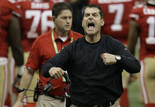 San Francisco 49ers head coach Jim Harbaugh protests a non-call by the officials after a fourth down play against the Baltimore Ravens during the second half of the NFL Super Bowl XLVII football game, Sunday, Feb. 3, 2013, in New Orleans. (AP Photo/Gene Puskar) Photo: Gene Puskar, Associated Press