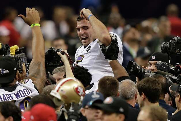 Baltimore Ravens quarterback Joe Flacco (5) is lifted into the air by teammates after defeating the San Francisco 49ers 34-31 in the NFL Super Bowl XLVII football game, Sunday, Feb. 3, 2013, in New Orleans. (AP Photo/Bill Haber) Photo: Bill Haber, Associated Press / FR170136 AP
