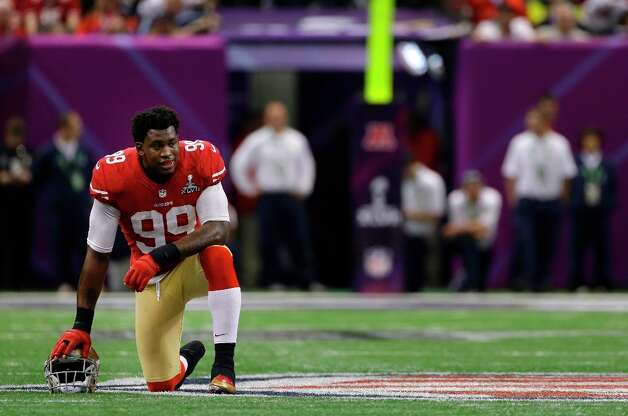 San Francisco 49ers linebacker Aldon Smith (99) kneels on the field during the second half of the NFL Super Bowl XLVII football game against the Baltimore Ravens, Sunday, Feb. 3, 2013, in New Orleans. Photo: Mark Humphrey, Associated Press / AP