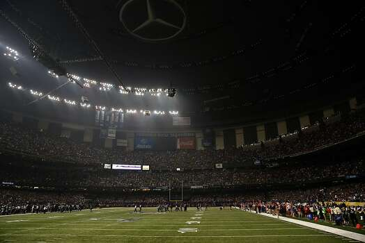 Half the lights go out in the third quarter of Superbowl XLVII between the San Francisco 49ers and the Baltimore Ravens at the Mercedes-Benz Superdome on Sunday February 3, 2013 in New Orleans, La. Photo: Carlos Avila Gonzalez, The Chronicle