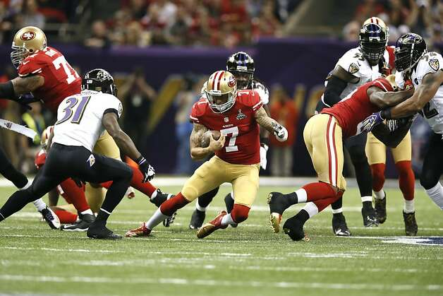 Quarterback Colin Kaepernick (7) breaks away for a run in the first half of Superbowl XLVII between the San Francisco 49ers and the Baltimore Ravens at the Mercedes-Benz Superdome on Sunday February 3, 2013 in New Orleans, La. Photo: Michael Macor, The Chronicle