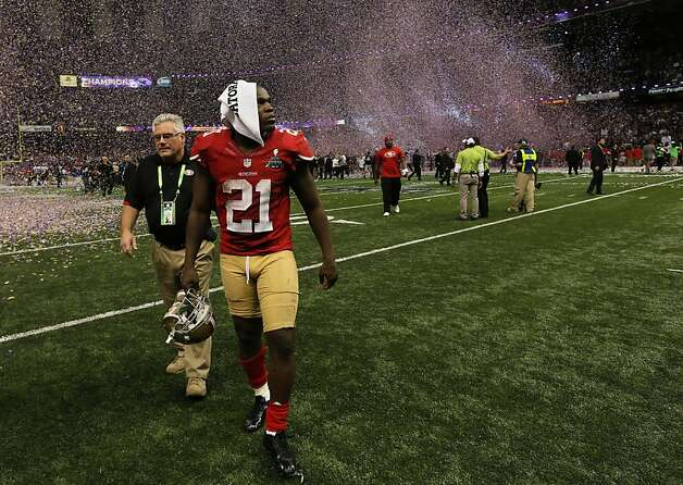 San Francisco 49ers Running back Frank Gore (21) leaves the field after a loss to the Baltimore Ravens in Superbowl XLVII at the Mercedes-Benz Superdome on Sunday February 3, 2013 in New Orleans, La. Photo: Michael Macor, The Chronicle