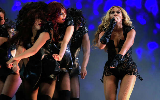 Singer Beyonce wows the crowd during the Super Bowl halftime show. Photo: Jamie Squire / 2013 Getty Images