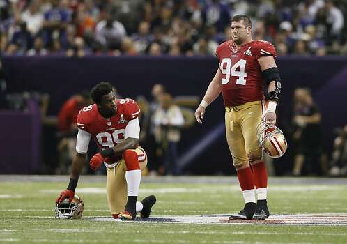 Linebacker Aldon Smith (99) and Defensive tackle Justin Smith (94) during the fourth quarter of Superbowl XLVII between the San Francisco 49ers and the Baltimore Ravens at the Mercedes-Benz Superdome on Sunday February 3, 2013 in New Orleans, La. Photo: Michael Macor, The Chronicle