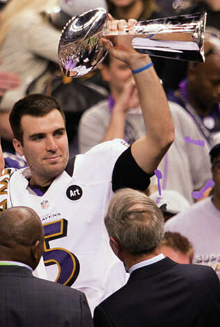 Ravens quarterback Joe Flacco celebrates with the Lombardi Trophy. Photo: Smiley N. Pool, Chronicle / © 2013  Houston Chronicle