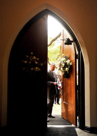 Church members enter St. Mark's Episcopal Church for a rededication ceremony Sunday, Feb. 3, 2013, following a $15 million renovation to the historic downtown church. Photo: Robin Jerstad, For The Express-News