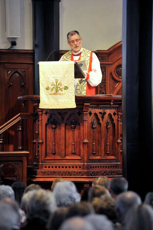 The Right Reverend  Gary Lillibridge speaks Sunday, Feb. 3, 2013, during the rededication ceremony following a $15 million renovation to the historic downtown church. Photo: Robin Jerstad, For The Express-News