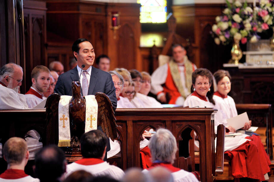 San Antonio Mayor Julián Castro speaks to the congregation of St. Mark's Episcopal Church Sunday, Feb. 3, 2013, during the church's rededication ceremony following the completion of a $15 million renovation. Photo: Robin Jerstad, For The Express-News