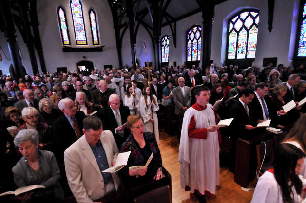 The pews were full as the rededication of St. Mark's Episcopal Church begins Sunday, Feb. 3, 2013, following a $15 million renovation to the historic downtown church. Photo: Robin Jerstad, For The Express-News