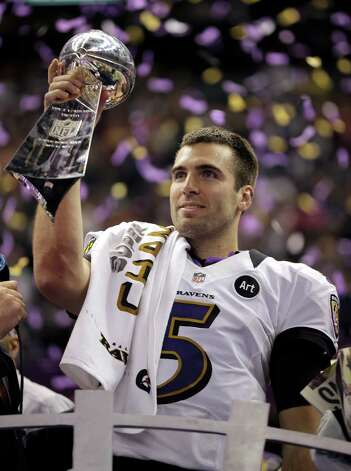 Baltimore Ravens quarterback Joe Flacco (5) holds the Vince Lombardi Trophy after defeating the San Francisco 49ers 34-31 in the NFL Super Bowl XLVII football game, Sunday, Feb. 3, 2013, in New Orleans. (AP Photo/Matt Slocum) Photo: Matt Slocum