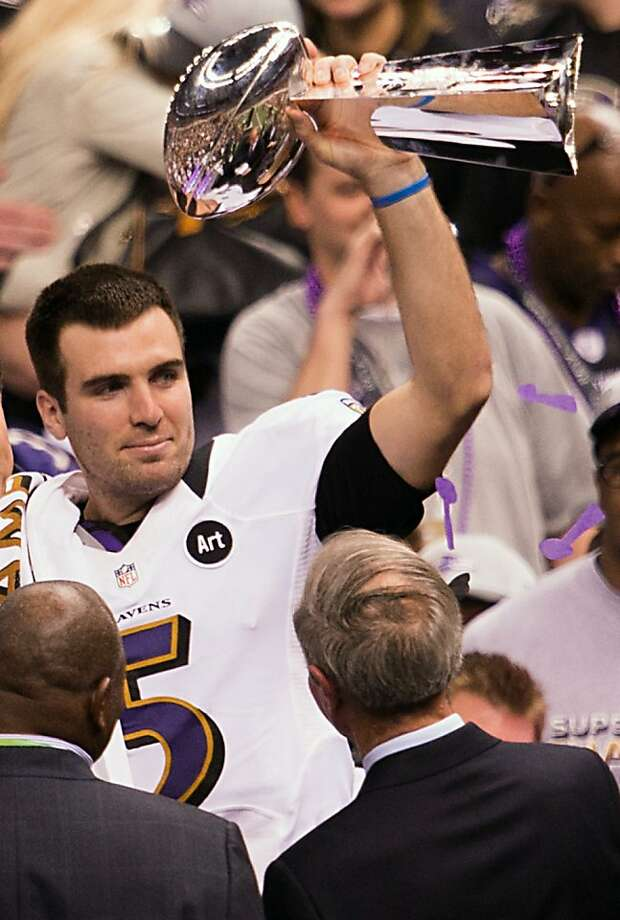 Baltimore Ravens quarterback Joe Flacco celebrates with the Lombardi Trophy following the Ravens 34-31 victory over the San Francisco 49ers in Super Bowl XLVII at the Mercedes-Benz Superdome on Sunday, Feb. 3, 2013, in New Orleans. Photo: Smiley N. Pool, Chronicle