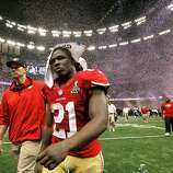49ers Frank Gore leaves the field after the loss, as the San Francisco 49ers fall to the Baltimore Ravens 34-31 in Superbowl XLVII at the Mercedes-Benz Superdome in New Orleans, La. on Sunday Feb. 3, 2013.