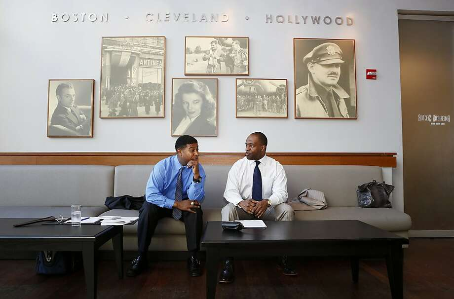 CBS broadcaster Spencer Tillman, left, talks with NFLPA Executive Director DeMaurice Smith prior to the NFLPA Legends Brunch at the National World War II Memorial Museum on Sunday February 3, 2013 in New Orleans, Louisiana. Photo: Aaron M. Sprecher, Associated Press