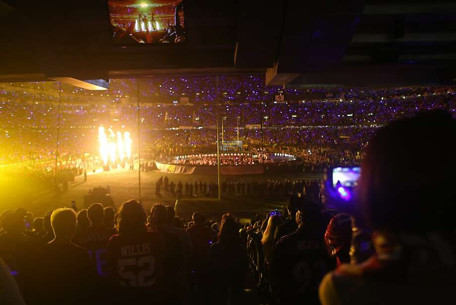 Pyrotechnics light up the field during the halftime show for Superbowl XLVII at the Mercedes-Benz Superdome on Sunday February 3, 2013, New Orleans, La. Photo: Mike Kepka, The Chronicle
