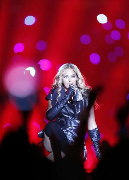 Beyonce performs during halftime at Superbowl XLVII between the San Francisco 49ers and the Baltimor