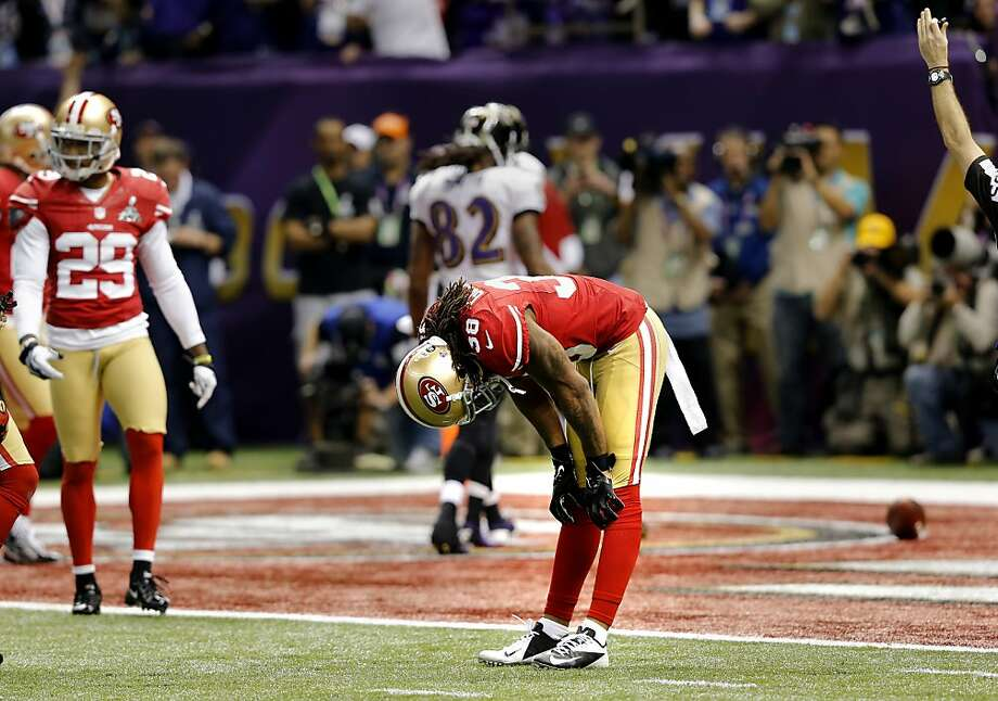 Safety Dashon Goldson reacted after a touchdown by the Ravens in the second quarter. The Baltimore Ravens defeated the San Francisco 49ers in Super Bowl XLVVII 34-31 Sunday February 3, 2013. Photo: Brant Ward, The Chronicle