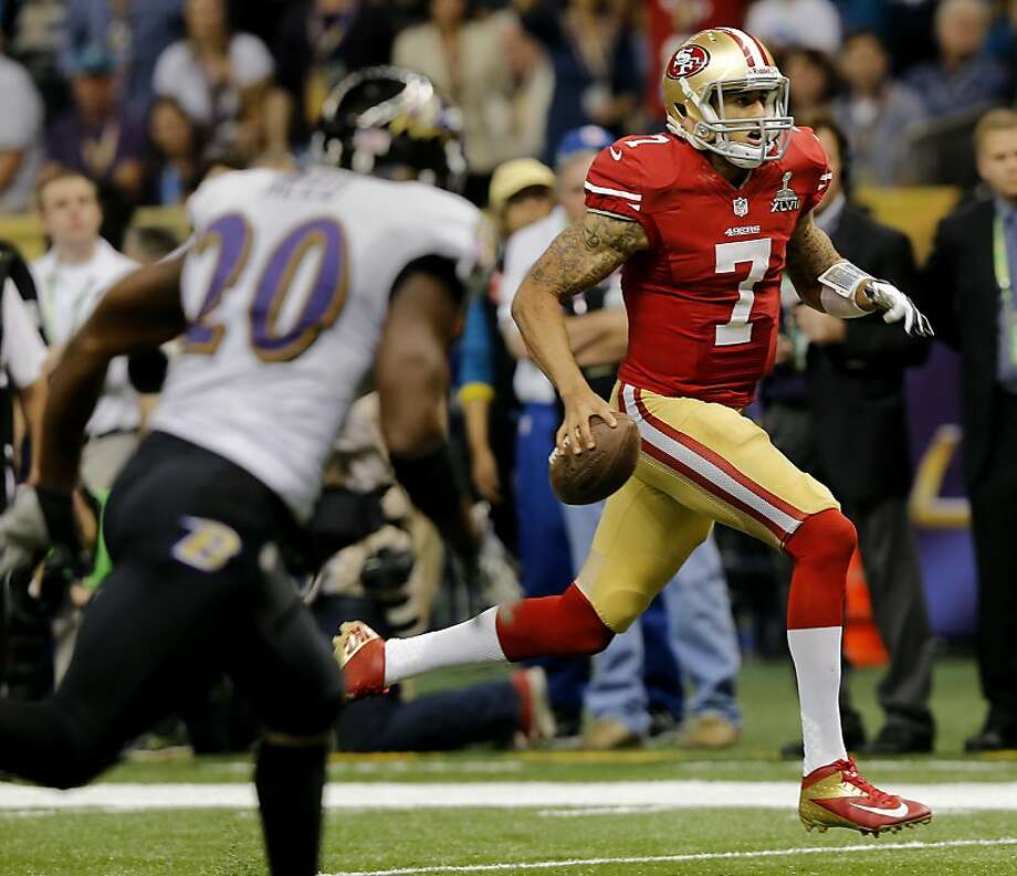 Colin Kaepernick ran for a touchdown in the fourth quarter. The Baltimore Ravens defeated the San Francisco 49ers in Super Bowl XLVVII 34-31 Sunday February 3, 2013. Photo: Brant Ward, The Chronicle