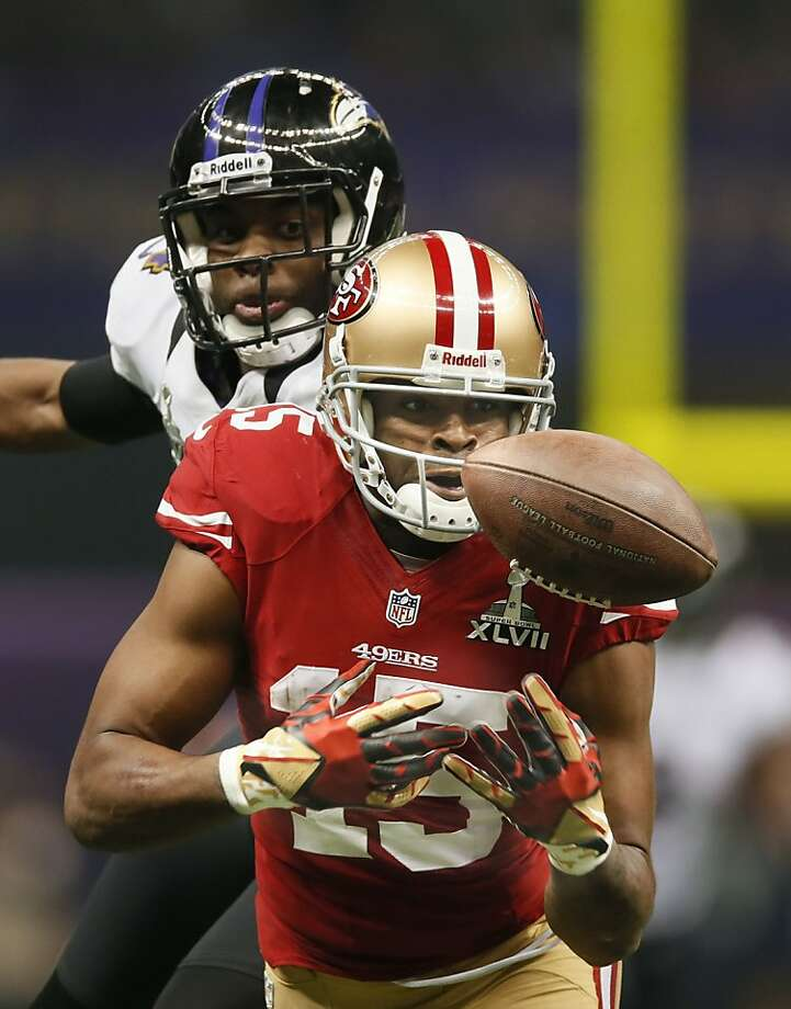 49ers Michael cRabtree can't hold onto to third quarter pass, as the San Francisco 49ers went on to fall to the Baltimore Ravens 34-31 in Superbowl XLVII at the Mercedes-Benz Superdome in New Orleans, La. on Sunday Feb. 3, 2013. Photo: Michael Macor, The Chronicle